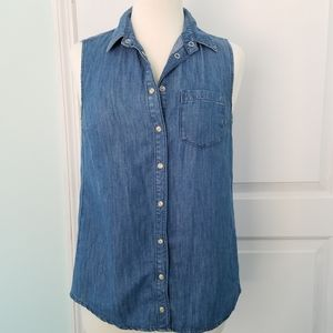 TopShop Top Cotton Linen Denim Snap Front 6